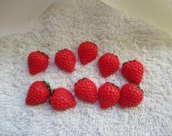 CAMEES FRAISES ROUGES lot de 4 camees embellissements demi fraise 1.8 cm  a coller  pour tous vos loisirs créatifs