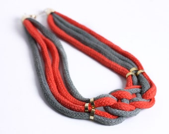 Two Tone Necklace in orange and khaki gray