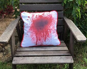Blood Splatter - Cushion Cover, Zombie cushion, home decor, Dexter