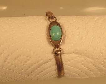 Mexico Turquoise Cuff Bracelet Sterling  @ A Village Coin Bullion  11/2/2 B
