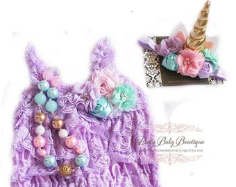 Unicorn Cake Smash Outfit Girl Lavender Lace Romper Floral Headband Necklace SET First Birthday Baby Pettiromper Ruffle Romper Outfit Prop
