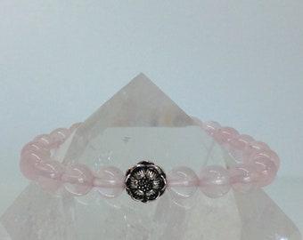 Soft Rose Quartz Lotus Bracelet