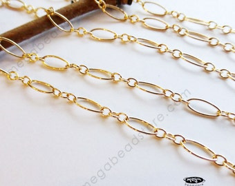 3 feet Long And Short 14/20 Gold Filled Cable Chain 7.5mm Loose Chain CH73GF