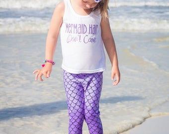 Little Mermaid Leggings- lilac mermaid scales - Baby Toddler kid -Fish Scale Leggings- mermaid leggings- lilac purple mermaid legging