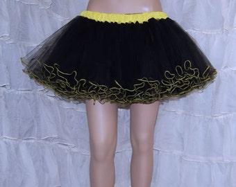Yellow and Black Piped Costume TuTu Crinoline Skirt MTCoffinz --- Adult All Sizes