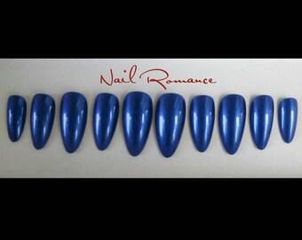 Blue Metallic Medium Stiletto Nails / Holiday Nails /  Blue Nails / New Year's Nails / Press On Nails/ Glue On Nails / Fake Nails