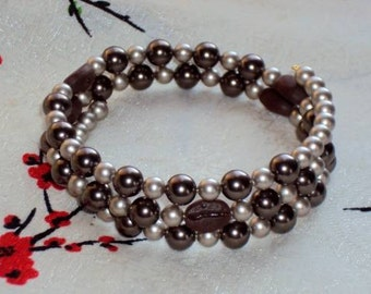 MOCHA JAVA PEARLS Coffee Bean beads with Swarovski Pearls - Memory Wire Wrap Bracelet