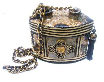 Unique Gold Enamel Evening Bag c 1980s
