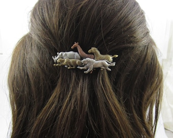 Wild Animal French Barrette 70mm- Safari Barrette- Giraffe- Lion- Zebra- Rhino- Leopard