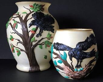 Polymer clay Crow Vases,Raven Vase,Black Crow,Polymer Clay vase,Glass Vases,Black bird vase,Polymer clay vase,As the crow flies