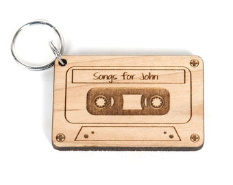 Solid wood custom engraved Mix Tape Keychain - Great Valentines Day Gift