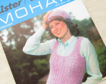 Woman's Crochet Mohair Tank Top and Hat, Sizes 32-38 Inch - Vintage Lister Crochet Pattern 2346