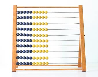 Vintage Large Abacus, Blue and Yellow