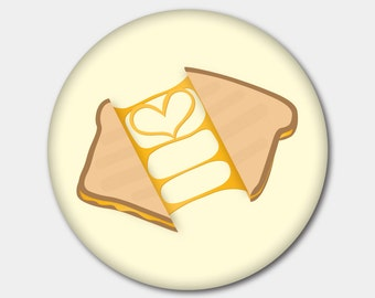 Grilled Cheese Magnet or Button. Love Food. Foodie. Cheese. I love cheese. Stocking Stuffer. Gifts For Her. Gifts For Him.