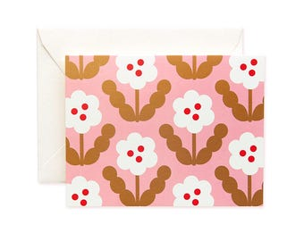 Blossom Gold Greeting Card - White Petal