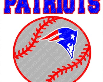 Patriots Baseball Softball SVG, DXF, EPS, Png Cut File for Cameo and Cricut, Baseball Svg, Baseball Mom, Patriots Svg, Instant Download
