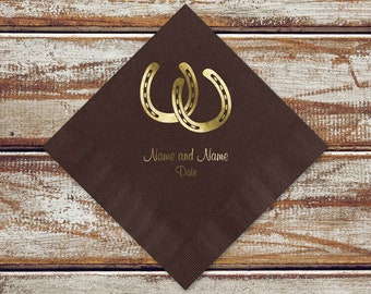 Rustic Country Wedding Cocktail Or Luncheon Napkins | Rustic Horseshoes Personalized Brown Beverage Or Luncheon Napkins, Gold Foil Design