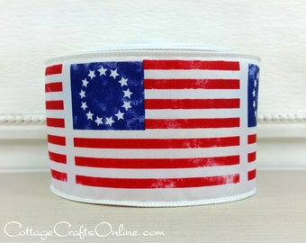 "Wired Ribbon, 2 1/2"" Red, White and Blue Early American Flag Print, TEN YARD ROLL, ""Betsy Ross"" Patriotic July 4th Wire Edged  Ribbon"