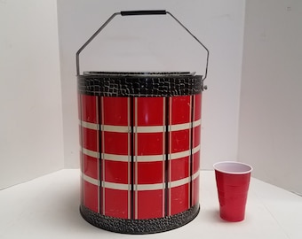 Vintage  1950's Cooler Round Ice Chest, Poloron,  Portable, w/ removable tray, and 4 ice pack cans, Red Plaid Faux Alligator skin paint