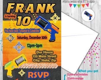 Dart Gun Party invitation
