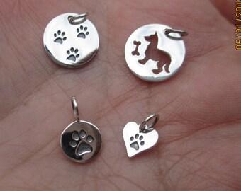 Sterling Silver Paw Print Charm, Heart Paw Print, Dog and Bone or Trio Paw Print