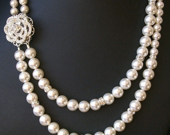 Rose Wedding Necklace, Statement Bridal Necklace, Crystal Wedding Jewelry, Swarovski Pearl Necklace, Art Deco Bridal Jewelry, ROSE