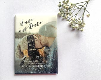 Winter Photo Save the Date Wedding Magnet - Snowflake Overlay