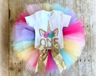1st Birthday Unicorn outfit, Rainbow Unicorn First Birthday, 1st Birthday girl outfit, Cake smash outfit, Girls first birthday outfit, Tutu