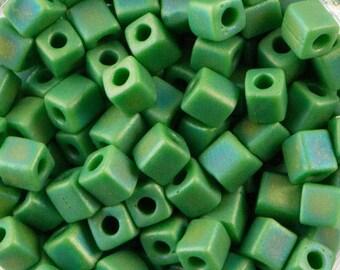 Opaque Green AB Miyuki Cube Seed Bead 4mm 20gm Tube SB4-411FR-TB
