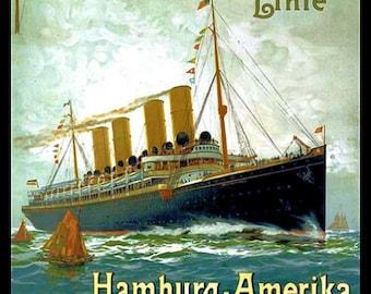 Hamburg America Ocean Liner Refrigerator Magnet