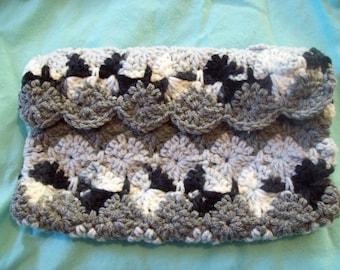 Pouch Bag Crochet Purse Makeup Bag  Pencil Case Grey Black and White
