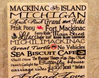Mackinac island subway art coasters, Set of 4 Tumbled Tile Coasters with Cork backing.