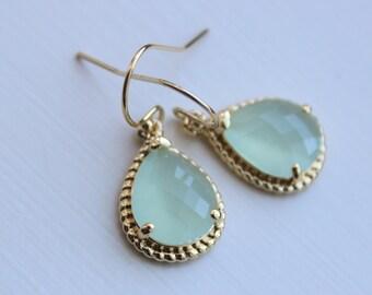 Gold Soft Mint Earrings Seafoam Green Jewelry - Mint Bridesmaid Jewelry Seafoam Bridesmaid Earrings - Mint Blue Wedding Jewelry Earrings