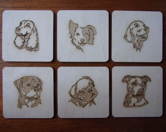 6 Dog coasters. set of 6 Engraved wood.