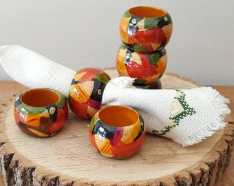 Wooden Napkin Rings Set of 6