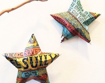 El Sully Mexican Style Lager Beer Stars, Christmas Ornaments, Aluminum Can, Upcycled, 21st Amendment Brewery,