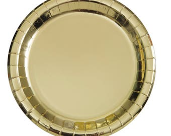 Metallic Gold Paper Plates. Shiny gold paper plates. Gold Party plates. Gold party plates. Gold paper party supplies.