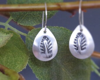 Sterling Silver Leaf Motif Earrings