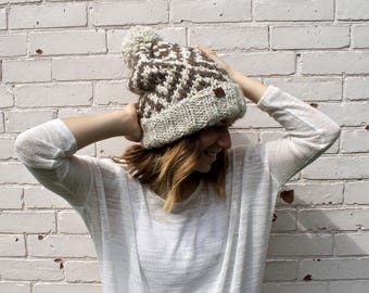 Two Colour Knit Slouchy Beanie | Pom Pom Winter Hat