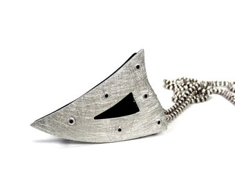 Sterling Silver and Black Resin Riveted Pendant - Instigate