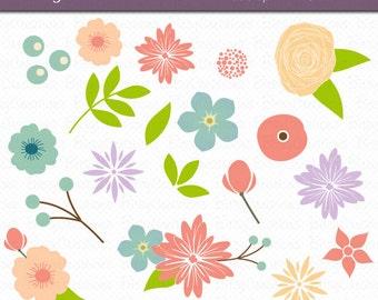 Spring Floral Flowers Digital Art Set Clipart Commercial Use Clip Art INSTANT DOWNLOAD Flower Clipart Floral Clipart