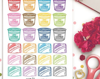 Instant Noodles Ramen Planner Stickers | Erin Condren | Kikki K | Filofax | Cup Ramen | College | Instant Food