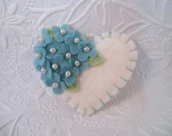 Felt Flower Brooch Beaded Heart Wool Felted Flowers
