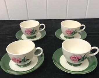 Homer Laughlin, Cup and Saucer Set, Homer Laughlin Nautilus, Dark Green, Pink Rose, Set of 4