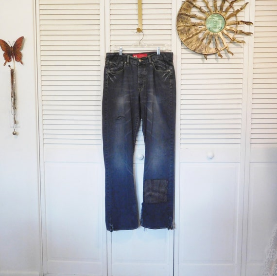 Clothes Upcycled Worn Retro Grunge 13 Butt 12 Patchwork Patched Mens Repaired Stage Size Frayed Jeans Hippie Out Waist Bohemian Patched 34 XdqzwBtw