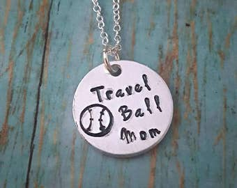 Travel Ball Mom Necklace - Travel Baseball - Ball Mom - Sports - Sports Jewelry - Softball - Women's Jewelry - Baseball- Travel Team - Mom