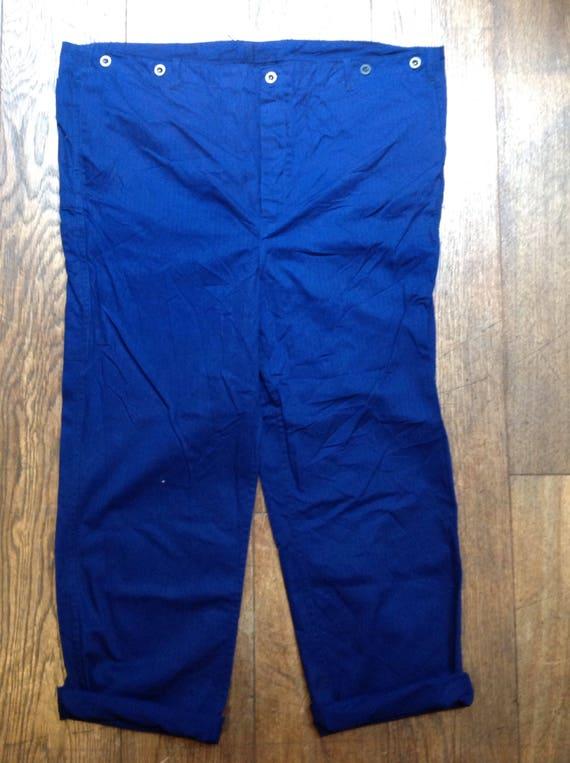 "Vintage French indigo blue cotton herringbone twill HBT chore trousers pants workwear suspender buttons 46"" x 29"" XXL (8)"