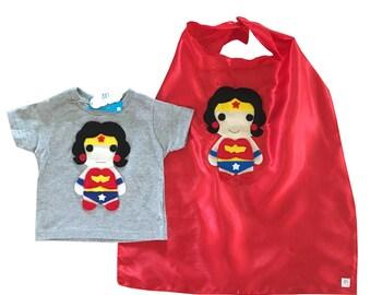 Kids Superhero Combo - Wonder Girl - Kids Tee & Cape - Children's Clothing - Girls or Boys Gift