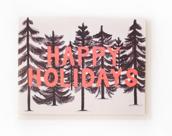 Inky Forest Happy Holidays Card // Set of 8