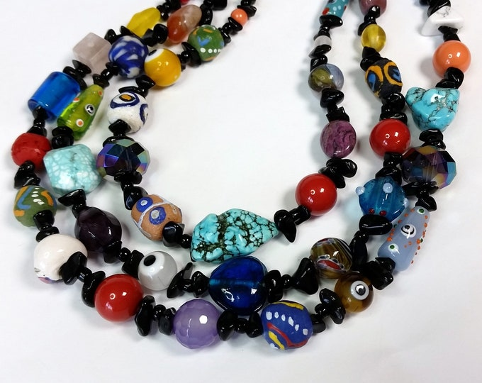 Rainbow Adjustable Necklace with 3 Strands - Triple Strand Necklace – Variety - Specialty Beaded Jewelry
